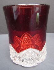 EAPG Pattern Glass Ruby Stain Button Arches, Scalloped Daisy Water Tumbler
