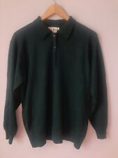 Pringle Of Scotland 100% Lamb Wool Forest Green Henley Sweater Made In Scotland