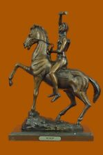 Federic Remington~The Scalp~Bronze Statue On Marble Base~Sioux Warrior Sculpture