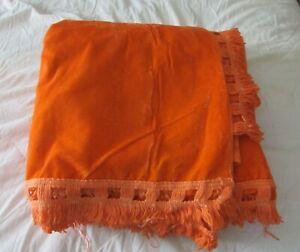 """Vintage 1970s Crushed Velvet Orange Bedspread 116"""" x 116"""" King size"""