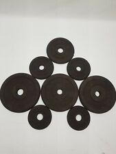"Barbell Lot of 1"" Metal Weight Plates Billard Weider Total 46lb Vintage"