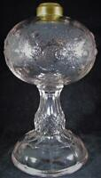 Antique Hobbs Blackberry EAPG Glass Oil Kerosene Pedestal Stand Lamp 1800s THURO