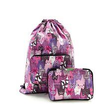 Pink Drawstring Bag Cat Print Shoes Storage Travel Gym School by Eco Chic