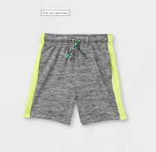 NWT Cat & Jack Toddler Boys 2T Active Pull-On Shorts/Side Stripes Charcoal Gray