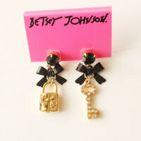 New Betsey Johnson Bow Lock Key Drop Earrings Gift Fashion Women Party Jewelry