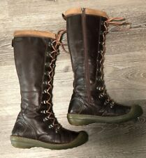 Keen Lace-up Brown Leather Knee High Side Zip Boots Womens Size 8.5 EUR 39