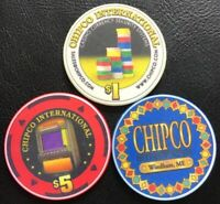 ChipCo International sample chips ($1 $5 And NCV Chips)