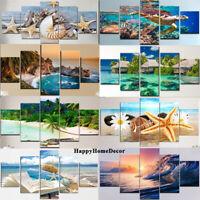 Seascape Painting Blue Ocean Poster Wall Art Beach Home Decor 5 pcs Canvas Print