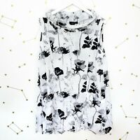 NWT Comfy USA Tunic Top Size Small S White Floral Sleeveless Paige Crinkle Cowl