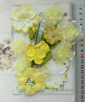 YELLOW LEMON & WHITE Mix 7 Styles = 11 PAPER & SILK Flowers 15-55mmAcross VE1 MH