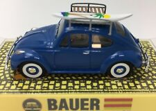 BAUER VW BEETLE 1200 BRIGHT BLUE WITH SURFBOARDS ON ROOF T-JET CLONE HO SLOT CAR