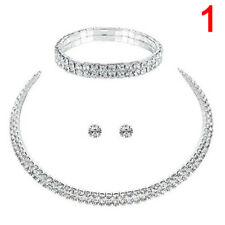Fashion Luxury Bridal Diamond Crystal Rhinestone Necklace Earrings Jewelry Sets 2