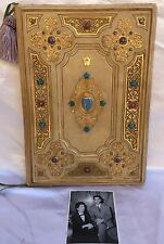 PRINCESS SORAYA PAHLAVI LEATHER ENAMELED BRONZE FRENCH BLOTTER DESK SET