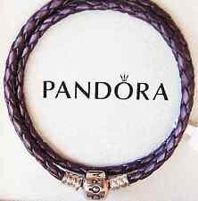 Genuine Pandora Purple Double Leather Bracelet w. Sterling Silver Clasp 35cm