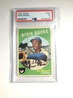 ERNIE BANKS 1959 TOPPS BASEBALL CARD #350 CHICAGO CUBS PSA 5 EX