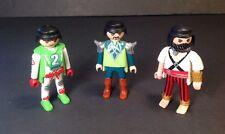 Playmobil Lot Of 3 Figures Biker Warrior Samurai