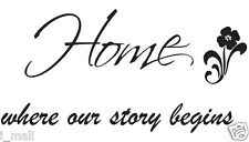 """""""Home where our story begins """" inspirational quote wall art decal"""