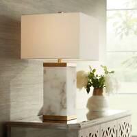 Modern Table Lamp with Nightlight Alabaster Metal for Living Room Bedroom Office