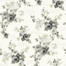 York Magnolia Home Black & White Heirloom Country Rose Toile Wallpaper Free Ship