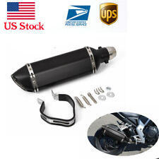 """Universal 1.5-2"""" Inlet Motorcycles Exhaust Muffler with Removable DB Killer BK"""