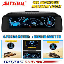 Car OBD2 Inclinometer Head Up Display Speedometer Slope Meter Code Clear Compass