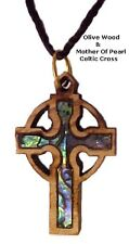 Olive Wood & Mother of Pearl Celtic Cross Necklaces