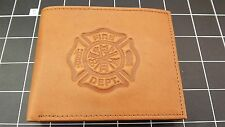 "Genuine Leather ""FIREMAN-FIREFIGHTER"" BILLFOLD WALLET TAN BRAND NEW"