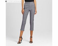 NWT New Victoria Beckham for Target Women Blue and White Gingham Twill Pants 12