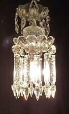 CRYSTAL GLASS PENDANT CEILING LIGHT PRETTY TWO TIER CHANDELIER PRISMS & LUSTRES