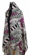 Stunning 2-Ply 100% Cashmere Pashmina ANIMAL PRINT Shawl Wrap, Pink/Gray/Black