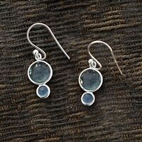 925 Sterling Silver Natural Chalcedony Topaz Gemstone Dangle Hanging Earring