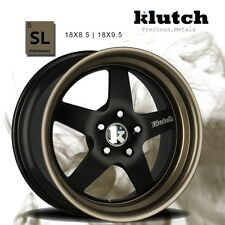 18X9.5 Klutch SL5 5x112mm +45 Matte Black Wheels Fits Audi b5 b6 b8 c4 c6 Q5 S4