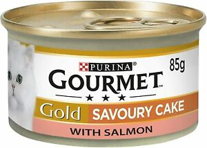 Gold Wet Cat Food Savoury Cake Salmon Can Adult, convenient, 85 g - Pack of 12