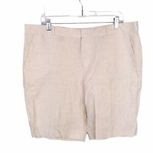"Banana Republic Factory 10"" Linen Blend Cream Casual Basic Shorts Plus Sz 14"