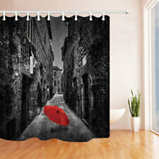 Red Umbrella in the Rainy City Bathroom Shower Curtain Fabric w/12 Hooks 71*71in
