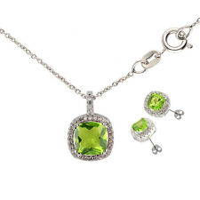 Rounded Square Peridot Green Pendant Necklace Earring Studs Women Jewelry Sets