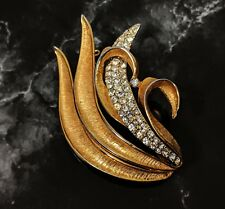 Lovely Vintage BSK Rhinestones Gold-tone and Silver -tone Brooch Signed 1960s