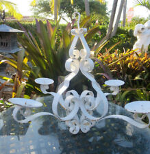 Vintage 4 arm Wrought Iron  Candle Hanging Chandelier