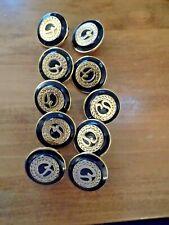 10 St. John navy & gold SJ logo buttons, MINT