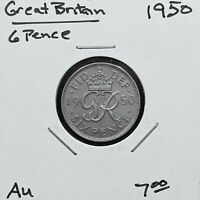 1950 GREAT BRITAIN 6 PENCE COIN, KING GEORGE VI, KM# 875, AU