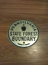 Pennsylvania State Forest Boundary Antique Embossed Silver Sign Hunt Fish Trap