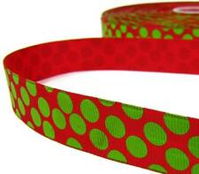 "2 Yds Christmas Red Grinch Green Floating Polka Dot Grosgrain Ribbon 7/8""W"
