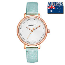 Fashion Light Blue Leather Steel White Dial Quartz Watch Women Lady Wrist Watch