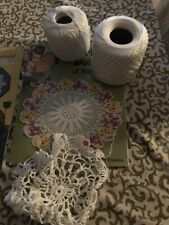 Vintage Lace Patterns Book with Shuttle and Thread Hanky Edge Doilies
