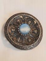 VINTAGE Scottish Inspired Round circle shield Brooch Dark Silvertone faces