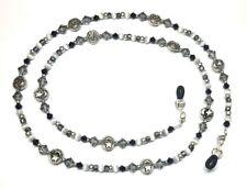 Jet Black / Grey Crystal Moons & Stars Eyeglass Chain Holder