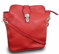 Made In Italy Luxus Damen Schultertasche Clutch Crossbody Bag Echt Leder Rot