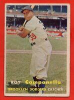 1957 Topps #210 Roy Campanella GOOD+ PAPER LOSS Brooklyn Los Angeles Dodgers