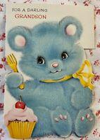 Vintage MCM Birthday Greeting Card Die-Cut Blue Flocked Teddy Bear Pink Cupcake