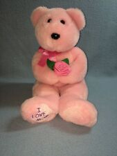 """TY Beanie Buddies Collection 2004 I Love Mom 15"""" Bear Pink Lovey EUC Flower"""